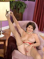 stocking Brunette mature